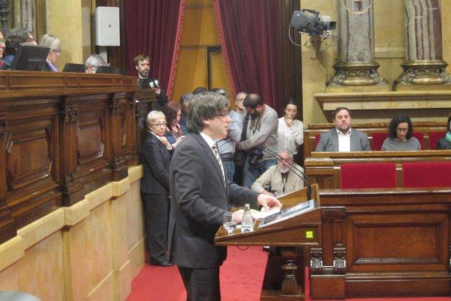 Carles Puigdemont durante su dircurso en el pleno de investidura