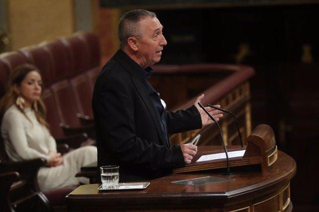 Joan Baldoví interviene en el pleno del Congreso sobre las pensiones