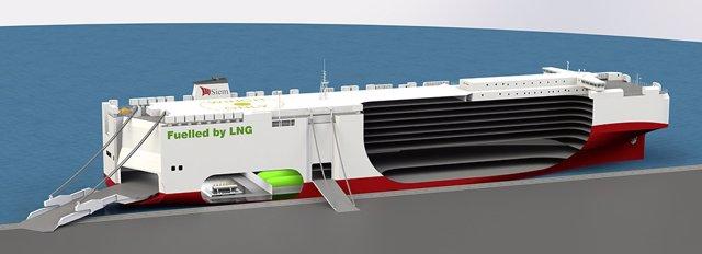 Imagen del futuro barco de GNL de Grupo Volkswagen