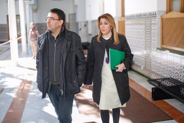 Mario Jiménez y Susana Díaz en el Parlamento