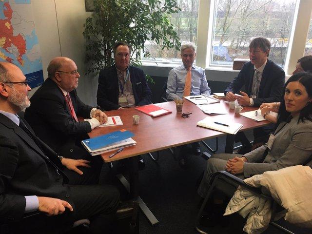 El consejero de Economía, Juan José Sota, en una reunión en Bruselas