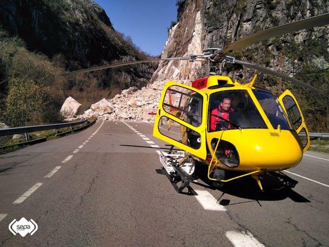 Desprendimiento de rocas en Sobrescobio
