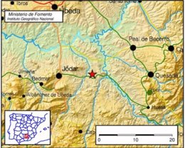 Localización del epicentro del terremoto registrado en Jódar (Jaén)