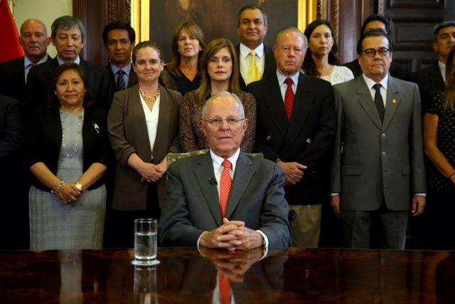 Peru's President Pedro Pablo Kuczynski addresses the nation as he resigns at the