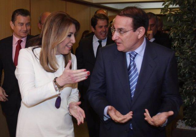 Susana Díaz y el reelegido presidente de la CEA, Javier González de Lara