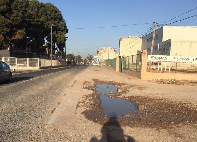 Carril bici en la carretera de Mazarrón en el tramo que une El Palmar-Sangonera