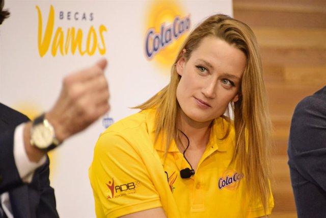 Mireia Belmonte durante la presentación de las Becas Vamos