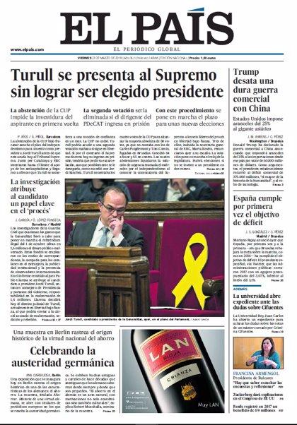 Las portadas de los periódicos de hoy, viernes 23 de marzo de 2018