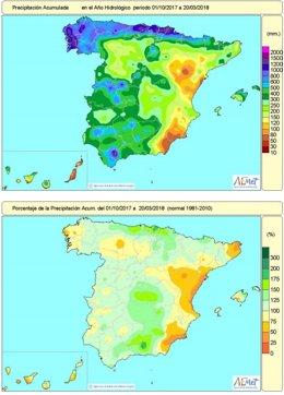 Evolución de las precipitaciones en el año hidrológico 2017-2018