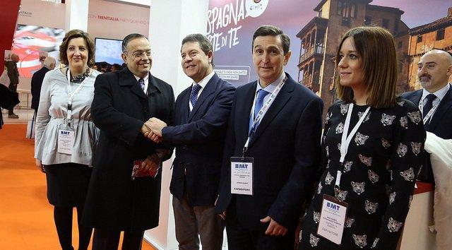 García-Page, Franco y Fernández Samper en la Borsa Mediterranea del Turismo