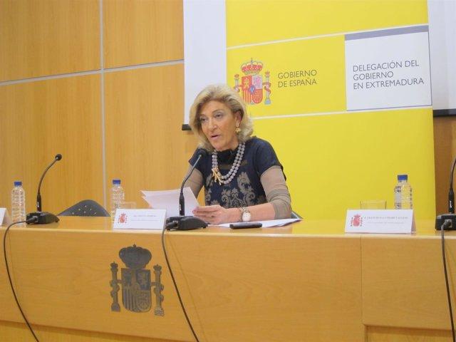 Cristina Herrera en rueda de prensa en Badajoz