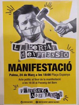 Cartel De La Manifestación De Este Sábado En Apoyo A Valtonyc En Palma