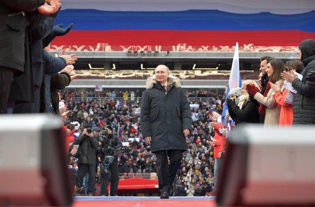 Vladimir Putin durante un acto electoral