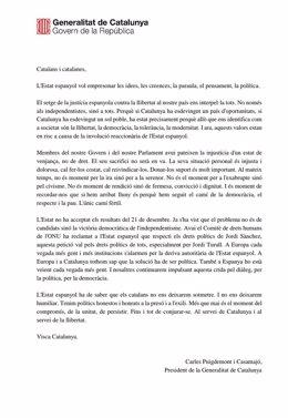 Comunicado de Carles Puigdemont sobre el encarcelamiento de soberanistas