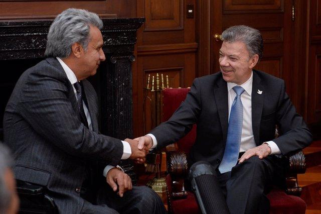 Lenín Moreno y Juan Manuel Santos