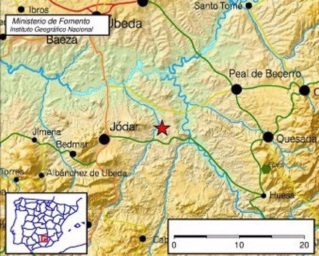 Lugar del epicentro del terremoto registrado en Jódar (Jaén)