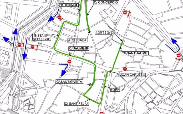 Varias calles de Palma permanecerán cerradas al tráfico durante las procesiones del Domingo de Ramos