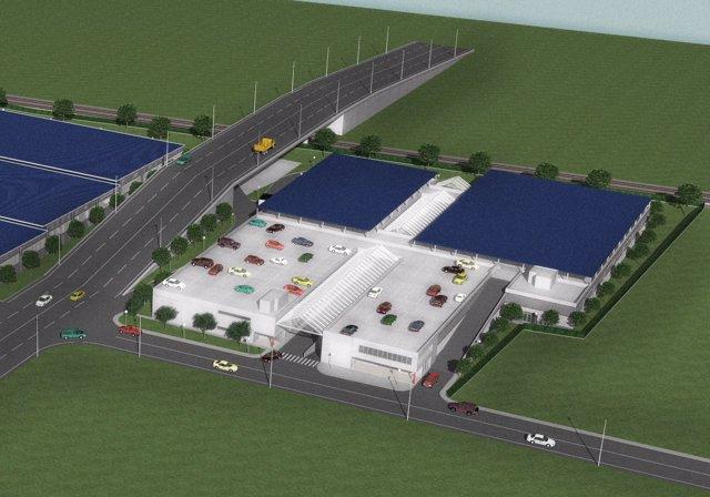 Infografía de la nueva sede de talleres y policía