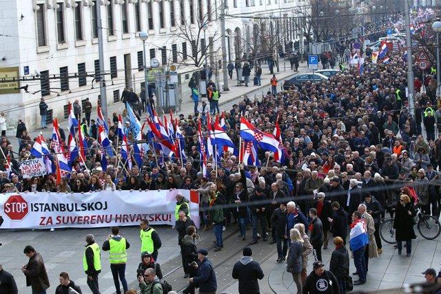 Manifestación en Zagreb contra la Convención de Estambul