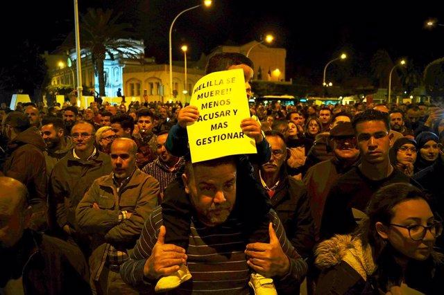 Manifestación de la Plataforma de Empresarios de Melilla