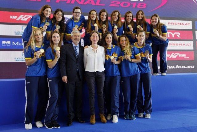 Selección española waterpolo femenino bronce Europa Cup