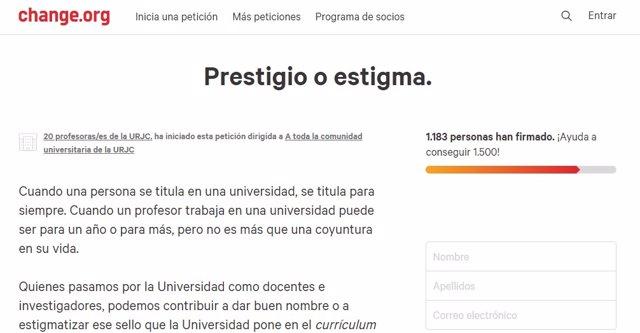 Petición 'Prestigio o estigma'