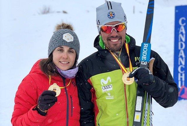 La esquiadora aranesa Marta Cester y el tolosano Imanol Rojo