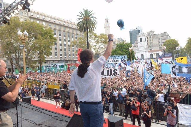 Pablo Iglesias participa en un acto en Buenos Aires (Argentina)