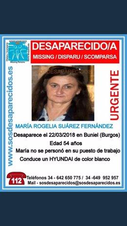 Burgos.- Cartel con el que se busca a la desaparecida