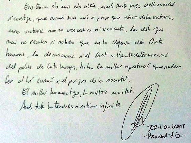 Carta de Jordi Cuixart a las parejas de los presos soberanistas