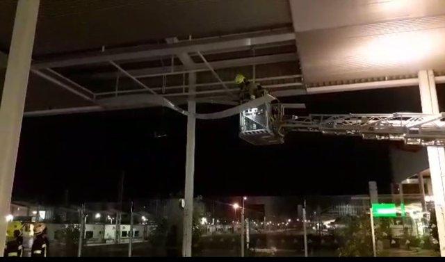 Retirada de paneles en la estación del AVE de Alicante