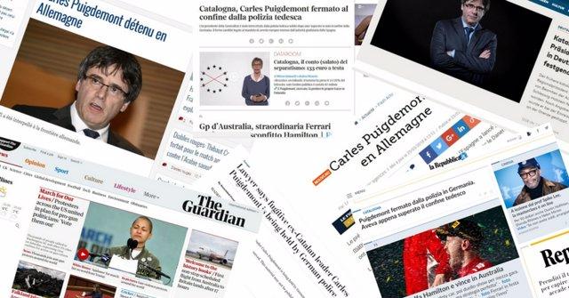 Prensa Internacional ante la detención de Puigdemont en Alemania