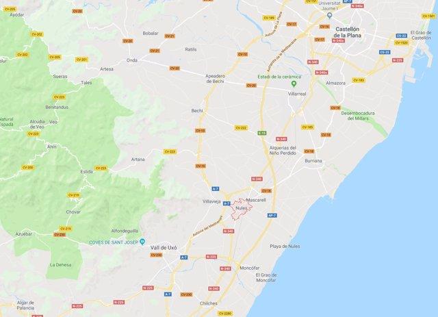 Localización de Nules (Castellón)