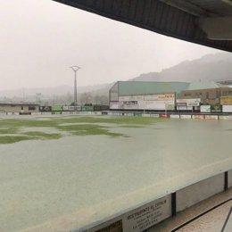 Campo de Les Caleyes inundado.