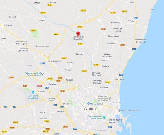 Localización de San Isidro de Benagéber en València