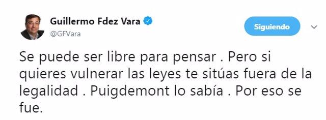 Mensaje de Fernández Vara en Twitter