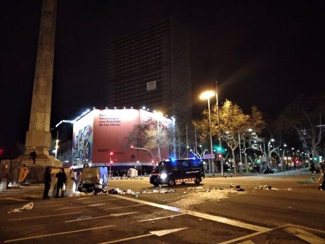 Final de la movilización en Barcelona tras la detención de Carles Puigdemont