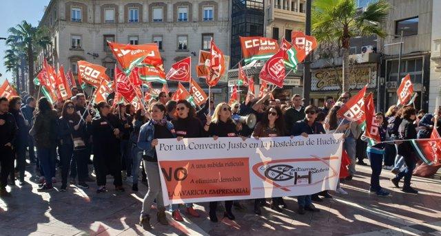 Manifestación de trabajadores del sector de la hostelería.