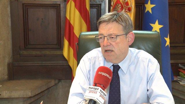 Ximo Puig durante la entrevista con Europa Press