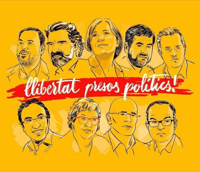 Cartel que ha retuiteado el Bloc sobre presos políticos