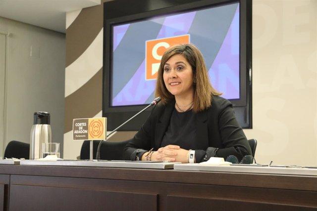 Susana Gaspar (Cs) en la Sala de Prensa de las Cortes.
