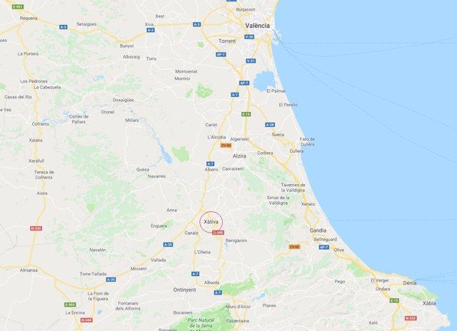 Localización de Xàtiva