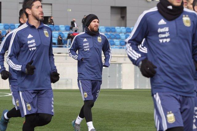 Leo Messi entrenamiento Argentina selección
