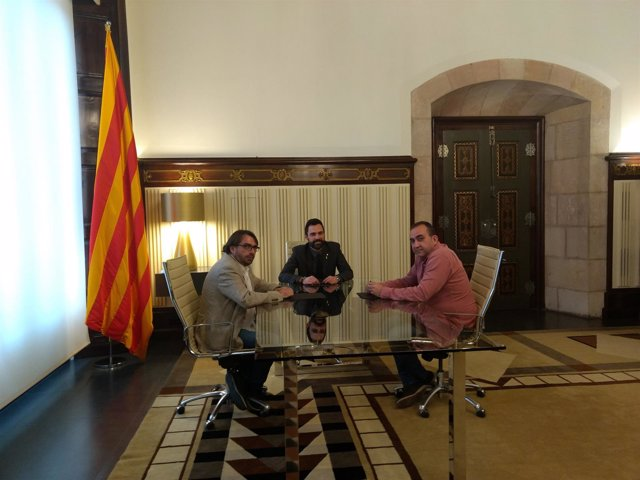 Camil Ros, Roger Torrent y Javier Pacheco