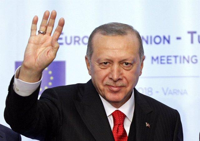 El presidente turco, Recep Tayyip Erdogan, en la cumbre con la UE en Varna