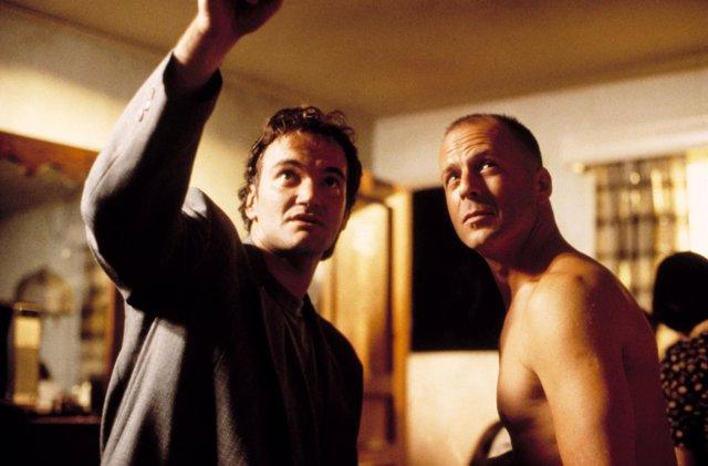 Quentin Tarantino en el rodaje de Pulp Fiction