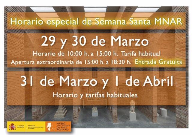 Horario extraordinario de Semana Santa en el MNAR de Mérida