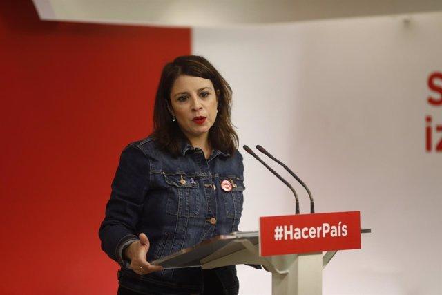 Rueda de prensa de la vicesecretaria general del PSOE, Adriana Lastra