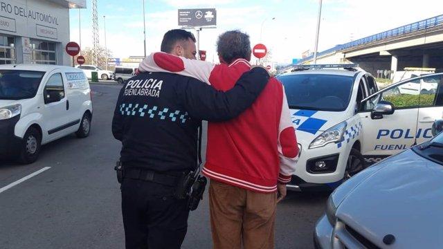 Policía local de Fuenlabrada en una intervención