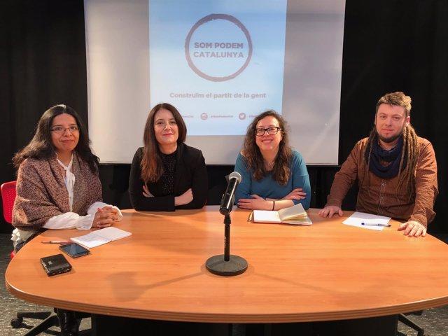 Noelia Bail, Sara Cuentas,María Martínez y David Clarà (Podem)